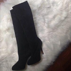 Sam Edelman Knee Length Boots Black Suede Size 9M